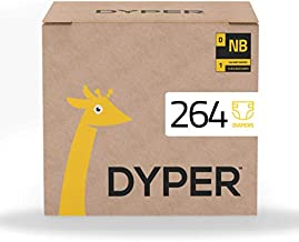 DYPER   Responsibly Sourced Bamboo Baby Diapers   Ink Free, Soft + Durable   New Born   10 lbs & Under   264 Count