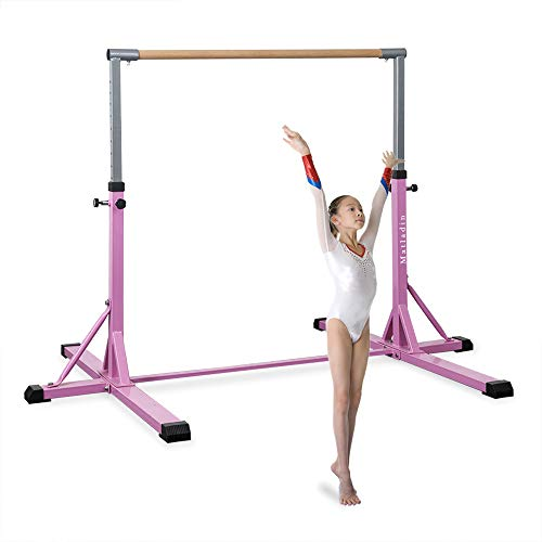Matladin Gymnastics Bars, Junior Training Bar with Adjustable Height, Upgraded Kip Bars with Gymnasts 1-4 Levels for Kids (Single Bar)