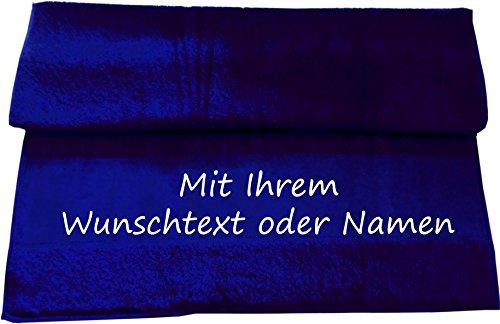 Druckreich Handtuch mit Ihrem Wunschtext oder Namen 100 x 50 cm/Fb. Navy