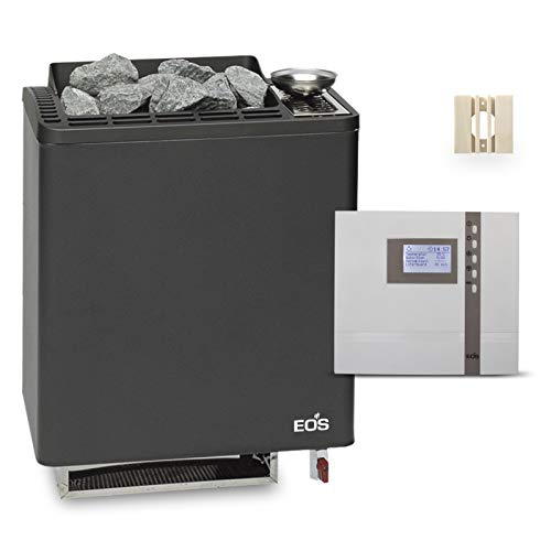 Saunaofen EOS Bi-O Tec W 7.5 kW, Saunasteuerung EOS Econ H2 und Fühlerschutz aus Espe