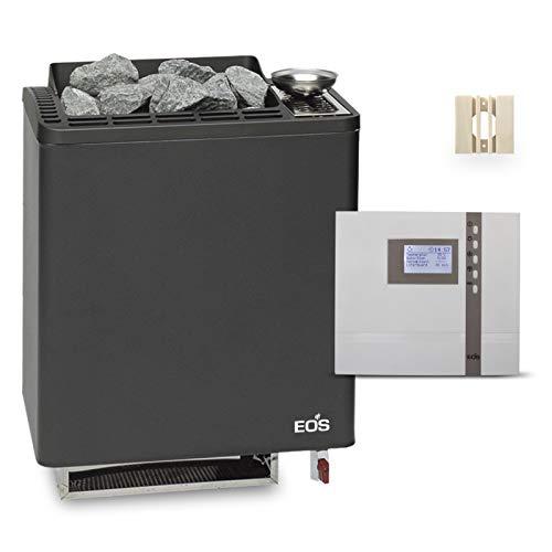 Saunaofen EOS Bi-O Tec W 9 kW, anthrazit, mit Steuerung EOS Econ H2 und Fühlerschutz aus Espe