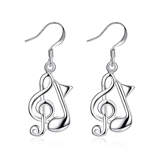 Pendientes de gancho SMEJS para mujeres y niñas, nota musical de cobre, clave de sol, colgante de plata, joyería