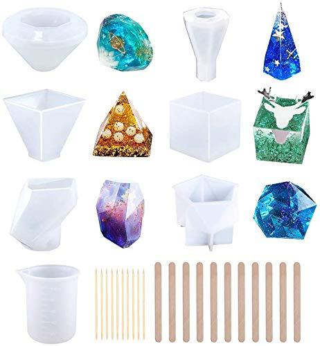 6 stuks hars mallen, grote DIY siliconen mallen voor hars, zeep, was etc, epoxy hars schimmel inclusief kubus/piramide/diamant/steen/mengen bekers/houten stokken