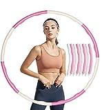 COTOP Hula Hoop, Hula Hoop Profesional Desmontable para Adultos con Cuerda para Saltar para Perder Peso Hula Hoop Ancho Ajustable 8 Secciones Diseño Desmontable (Rosa Blanco)