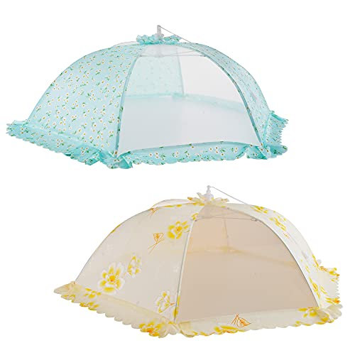 ipow Update Mesh-Material 2 Pack Fliegenhaube Großer Taschenschirm Lebensmittel Abdeckung Zelt vor Insekten schützen, Faltbar (Grün + Gelb)