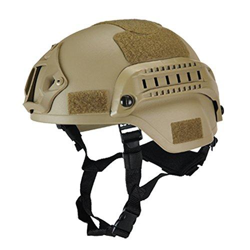 eamqrkt Militärhelm, Airsoft-Ausrüstung, Paintball-Kopfschutz mit Nachtsichtgerät-, Sport-, Kamera-Halterung, beige
