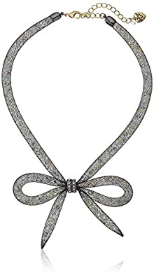 """Betsey Johnson """"Memoirs of Betsey"""" Mesh Bow Necklace, 16"""" + 3"""" Extender"""