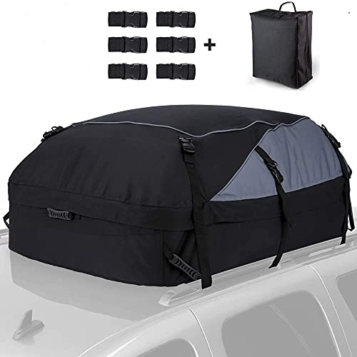 Auto Dachbox 15 Kubikfuß 425L Faltbare Dachkoffer 600D Wasserdicht Dachtasche Aufbewahrungsbox ,dachtasche für dachträger,für Reisen und Gepäcktransport, Autos, Vans, SUVs (S:105×90×45cm - 425L)