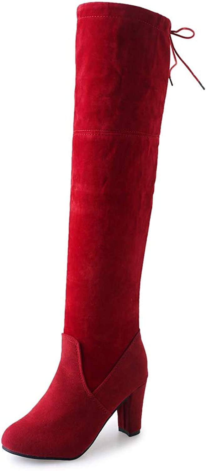 Women Over The Knee Boots High Square Heel Slip On Round Toe Back Tie Ladies Sexy Winter Party shoes
