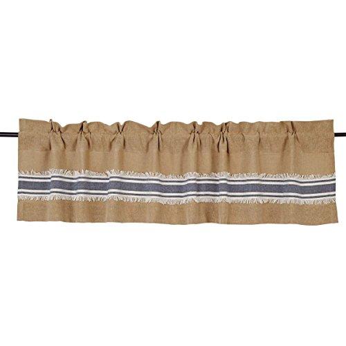Piper Classics Mill Creek Burlap & Stripe Valance, 16 x 72, Farmhouse Style Curtain