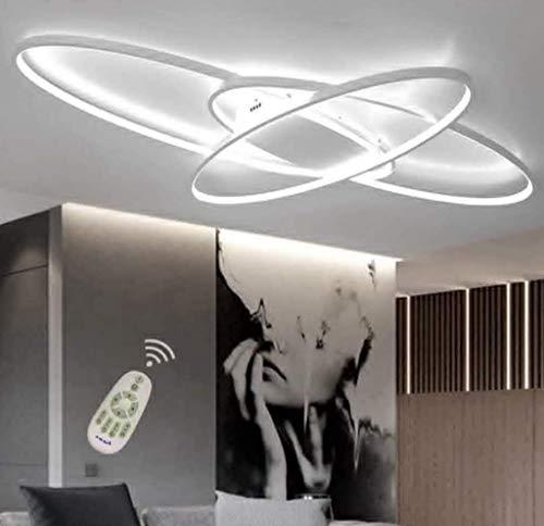 HGW Moderna lámpara LED de Techo para salón Regulable Pantalla de acrílico lámpara diseño Cuadrado lámpara Comedor con Mando a Distancia lámpara Techo lámpara Colgante Cocina,Blanco,95cm