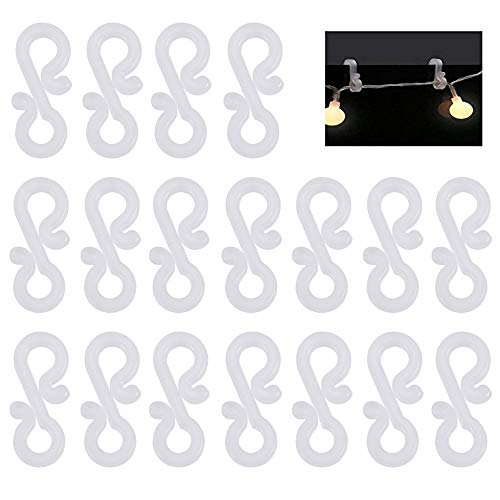 PERFETSELL 100 Stück Dachrinnenhaken Lichterketten Kunststoff Lichterkette Haken Halterung an der Dachrinne Lichterkettenhalterung für Befestigung der Weihnachtsbeleuchtung lichter Kette Outdoor