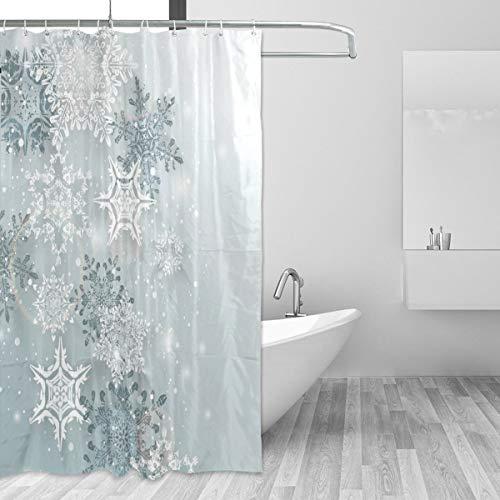 Mnsruu Duschvorhänge, Silber Winter Weihnachten Bad Vorhang wasserdicht Vorhang mit 12 Haken 72x72 Zoll (180x180cm)
