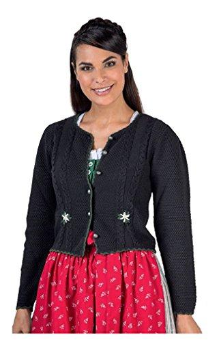 Moschen-Bayern Damen Trachtenjacke Trachtenjanker Trachtenstrickjacke Strickjacke Trachten Dirndljacke Schwarz