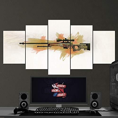 BA-CO Counter Strike Global - Lienzo Decorativo para Pared, diseño de Concha Ofensiva - CS GO 5 Piezas, Lienzo para Juegos, decoración de Pared CS GO 21 Enmarcado, Listo para Colgar - Póster CS GO