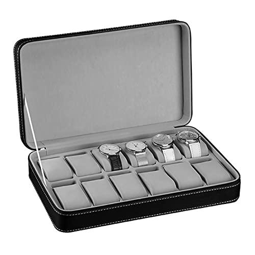 ROTAKUMA 10/10/12 Slots Reloj De Cuero Portátil Caja Organizador Cremallera Easy Carry Men Watch Box (Color : 12 Slots)