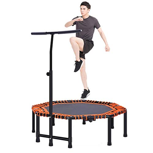 TBTBGXQ Trampette For Adults Kids Fitness, Rebounder 45' Jumping Bounce Trampolines With Adjustable Handle Trampette, For Indoor Outdoor Garden Yoga Workout Exercise-Max Weight 225kg