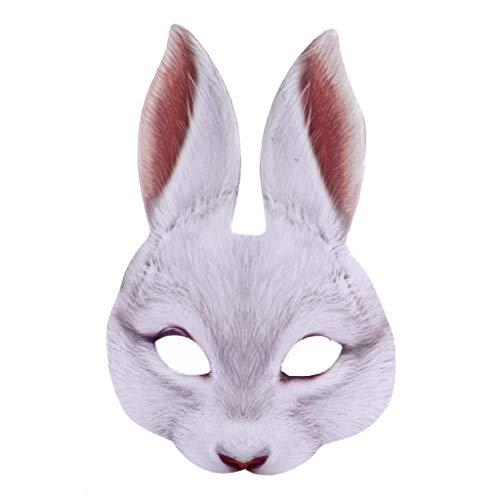 yhdcc44 Lebensechte Osterhasen-Maske für Damen, für Karneval, Party, Bar, Nachtclub, Kostüm, sexy Halbgesichts-Hasenohren, Masken, Halloween, Cosplay-Requisiten