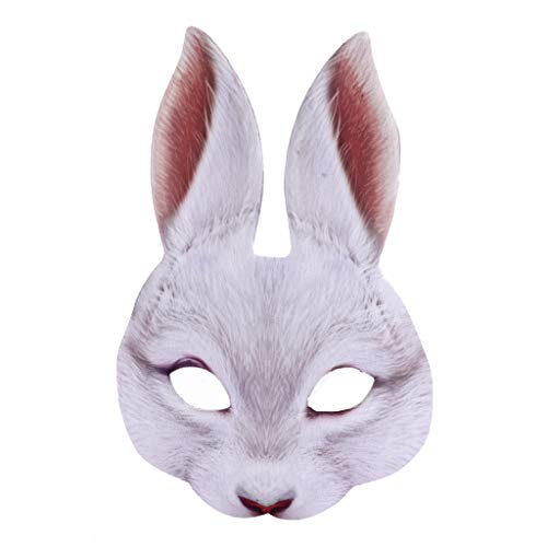 yhdcc44 Máscara realista de conejo de Pascua para fiesta de carnaval, disfraz de bar, discoteca, sexy, media cara, orejas de conejo, accesorios de Halloween