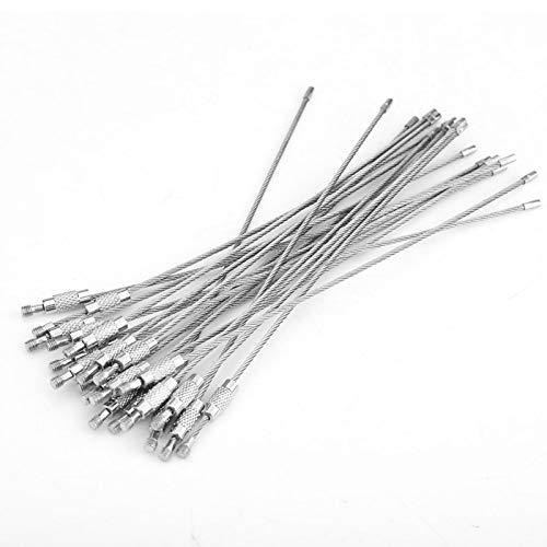 01 Cuerda de Llave de Alambre, Llavero de Cable Plateado, 20 Piezas/Bolsa, Linterna de Pinza, Colgante para Llave