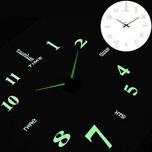 XINGPENGME 2019 Nieuwe Luminous Wandklokken Grote Klok horloge Horloge 3D DIY Acryl Spiegel Aufkleber Quarz Duvar Saat Klock Moderne Mute (Bladformaat : 37 inch, Kleur : Wall Clock 7)