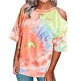 wxdsnh t-shirt pullover con spalle scoperte a maniche corte con stampa tie-dye da donna estiva summer
