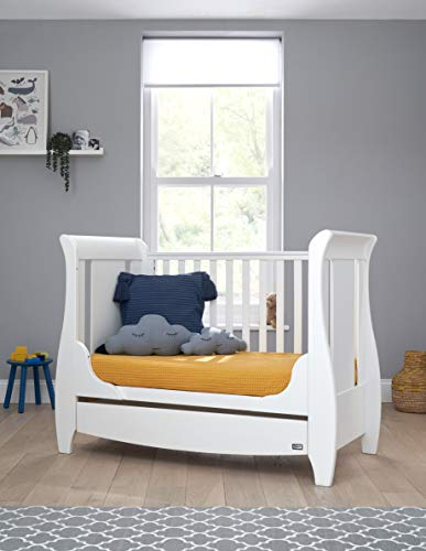 Tutti Bambini Katie Space Saver Sleigh Cot Bed with Under Bed Drawer – 120 X 60cm Converts to Junior/Toddler Bed (White) 3 Positions