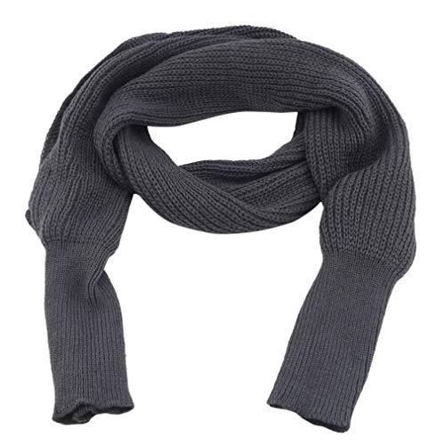 LIGHTBLUE Gestrickter Schal, Stricken von Wollschals Warmer Winter Dicker Schal Wollschals, Dunkelgrau