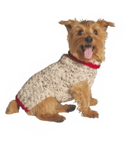 Chilly Dog Oatmeal with Red Trim Dog Sweater, Small