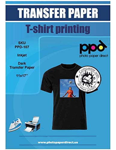 PPD Inkjet Iron-On Dark T Shirt Transfers Paper 11x17 Pack of 10 Sheets (PPD-107-10)