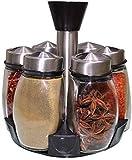 HSWJ Condimento botella set de vidrio de cocina condimento botella frasco de condimento de 5 piezas con tapa de cocina caja de especias