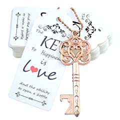 A MUST-HAVE SET: the wedding favor souvenir set, a nice decoration to your vintage/rustic wedding, Party Favor The key bottle openers are made of alloy,free of Lead,sturdy and useful,never get stained Size: Key:3.0 inches Tags:3.5 x 1.5 inches, Keych...