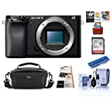Sony Alpha a6100 Mirrorless Digital Camera Body - Bundle with Camera Case, 32GB SDHC Card, Card Reader, LCD Protector Cover, Cleaning Kit, Mac Software Package