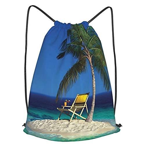 Mochilas de Cuerdas Unisex,Silla bajo una palmera en una pequeña isla tropical deshabitada Clear Ocean,Impermeable Mochila con Cordón,adulto Niños exterior Mochilas Casual,yoga Bolsas de Gimnasia