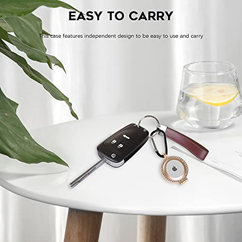 NEWZEROL Cover in Lega di Alluminio Compatibile per AirTag, Custodia con Diamante Scintillante con Portachiavi, Cover Protettiva Antiurto AntiGraffio per AirTag - Oro