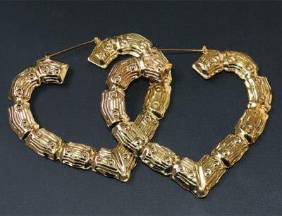 ZSCZQ Pendientes de aro de bambú de Color Plateado Dorado para Mujer, Pendientes de bambú de círculo Redondo Grande geométrico, joyería de Fiesta Gold3