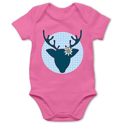 Shirtracer Oktoberfest & Wiesn Baby - Oktoberfest Hirsch mit Edelweiß - blau - 3/6 Monate - Pink - Baby Body Jungen - BZ10 - Baby Body Kurzarm für Jungen und Mädchen