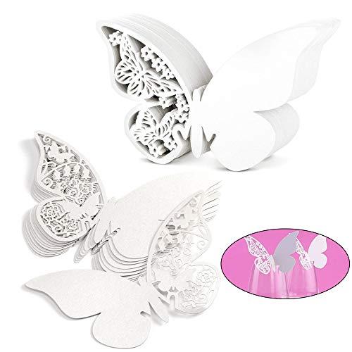 Nsiwem Schmetterling Tischkarten Weiß Platzkarte Namensschilder hochzeit Namenskarten Cup-Karten Glasanhänger Wandsticker für Hochzeit Geburtstage Party Tischdeko 100 Stücke
