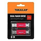 THKAILAR Memoria USB OTG 2 en 1 Flash Drive USB 3.0 Memory Stick USB Tipo C Pen Drive USB Flash Drive para PC/portátil/Notebook y otros dispositivos USB (32GBx2, rojo)