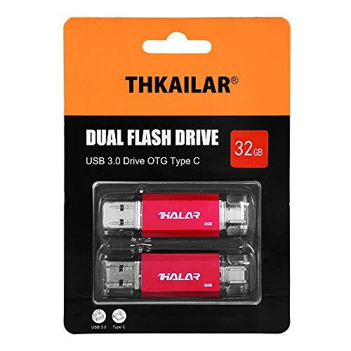 THKAILAR USB Stick OTG Speicherstick 2-in-1 Flash Drive USB 3.0 Memory Stick USB Type C Stick USB Pen Drive USB Flash Laufwerk für PC/Laptop/Notebook, und andere USB-Geräte (32GBx2, Red)