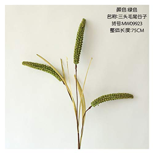 MICOLOD Cereals long branch Artificial plant with leaves for Home hotel Decor fake flowers DIY garden Decoration wreath wheat (Color : Dark Green)