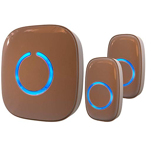 SadoTech Model CX Waterproof Wireless Doorbell Kit Battery Operated with 2 Push Button Transmitters and 1 Receiver, Brown