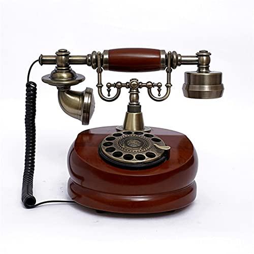 Nwanfeng Resina imitación de Cobre Estilo Vintage rotativo Retro Antiguo dial rotatorio casero y Oficina telefono teléfono casa Sala de Estar decoración