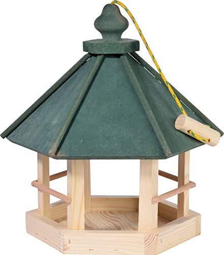 dobar 90038FSCe Klassisches Vogelhaus aus Holz zum Aufhängen 6-eckig, 29 x 32 x 36 cm, grün - 2