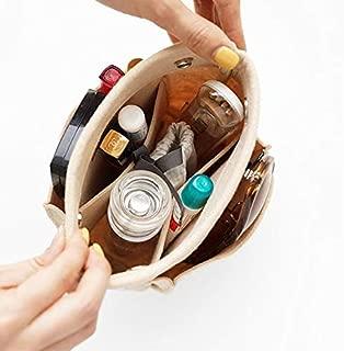Harphia Cosmetic Insert Makeup Bag in Bag Organizer Handbag Organizer Wool Felt Container Bag Organizer Storage Girl Handbag (Beige)