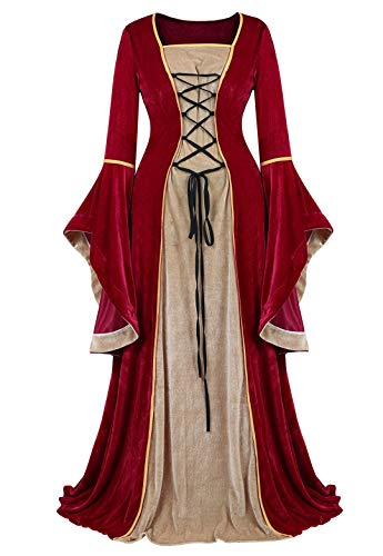Kranchungel Womens Renaissance Medieval Dress Costume Irish Lace up Over Long Dress Retro Gown Cosplay Wine Red Small