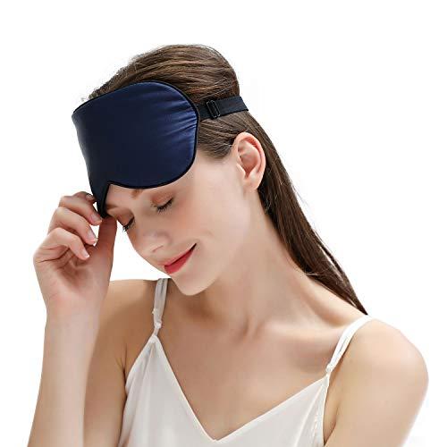 ZIMASILK 100% Seide Schlafbrille leicht - verstellbare Augenbinde für Reise und Zuhause Schlafen -Reine Maulbeerseide Atmungsaktiv Augenmaske mit Samtbeutel(Marineblau)