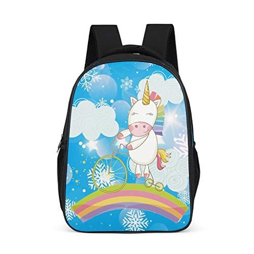 Zhcon kleuterschool kind gekleurde eenhoorn blauwe sneeuwvlok afdrukken rugzak lichtgewicht dagtas reistas student boekentas laptop voor tiener jongens met duurzaam ontwerp