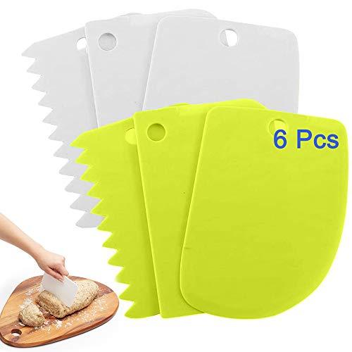 AOBETAK Set di Raschietto Taglia Impasto, 6 Pezzi Plastica Raschietto Tagliapasta Spatola per Impasti Torte Cottura Pasta Pane Pizza - Verde, Bianco