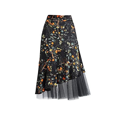 DISSA Falda de tul para mujer, línea A, cintura alta, falda Midi, falda de verano, cintura elástica, SS2122 Negro y amarillo. 46
